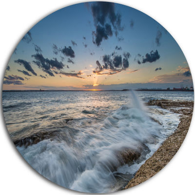 Design Art Sydney Sunset at La Per House Ultra Vibrant Seascape Oversized Circle Wall Art