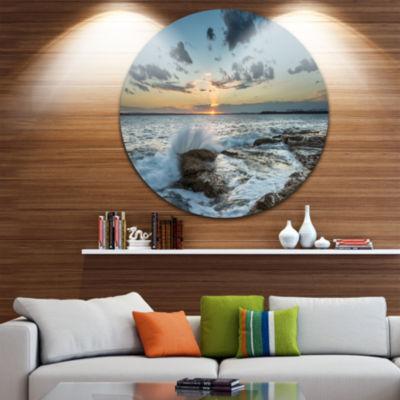 Design Art Bright Sydney Sunset Over Sea Ultra Vibrant Seascape Oversized Circle Wall Art