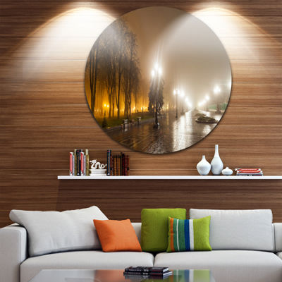 Design Art Avenue of City Park at Night CityscapePhotography Circle Metal Wall Art