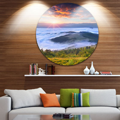 Design Art Colorful Sunrise Over Foggy Waters Landscape Photography Circle Metal Wall Art