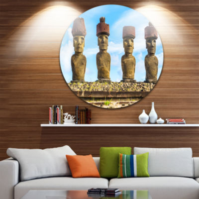 Design Art Moai with Red Topknot Hat Portrait Photo Circle Metal Wall Art