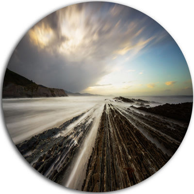 Design Art Surreal Atlantic Ocean Coast Seashore Photo Circle Metal Wall Art