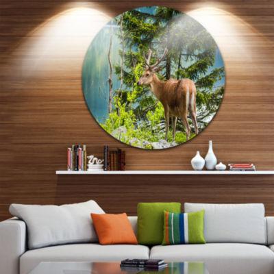 Design Art Deer Stag near the Lake Ultra Vibrant Animal Metal Circle Wall Art