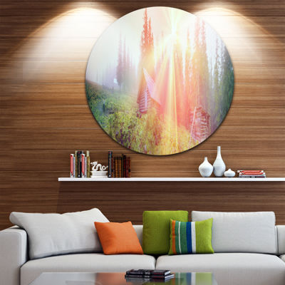 Design Art Shepherds Huts in Autumn Forest Landscape Photography Circle Metal Wall Art