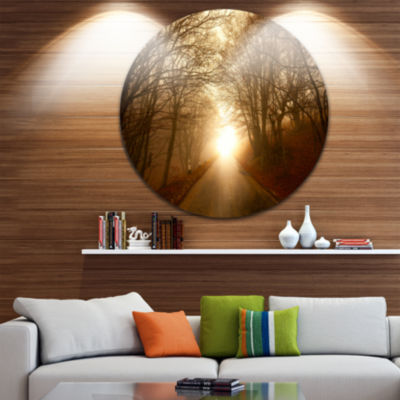 Design Art Path to Sunlight in Autumn Forest Landscape Photography Circle Metal Wall Art