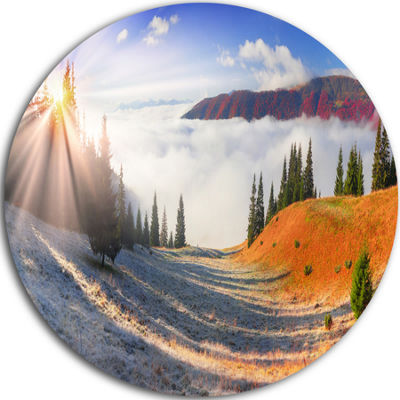 Design Art Yellow Beach Forest in Carpathians Landscape Photography Circle Metal Wall Art