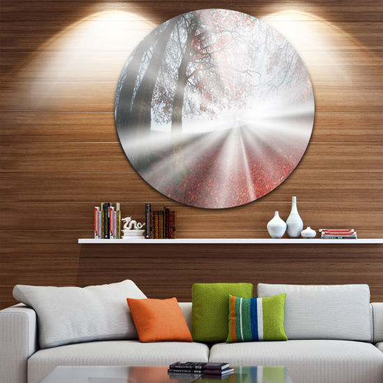 Design Art Silver Sun Rays to Foggy Forest Landscape Photo Circle Metal Wall Art