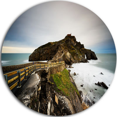 Design Art Path to Cape and Chapel in Spain Seashore Photo Circle Metal Wall Art