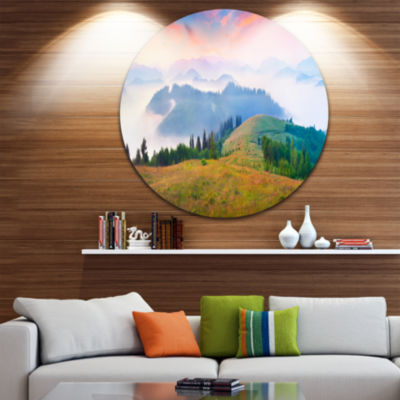Design Art Foggy Carpathian Panorama Landscape Photo Circle Metal Wall Art
