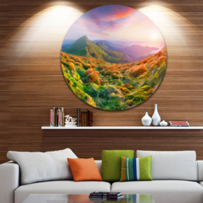 Design Art Pretty Colorful Sunset in Mountains Landscape Photography Circle Metal Wall Art