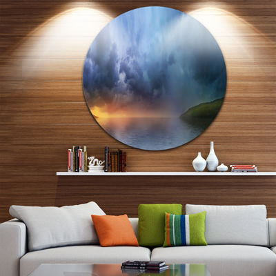 Design Art Dense Blue Clouds Over Lake Skyline Photography Circle Metal Wall Art