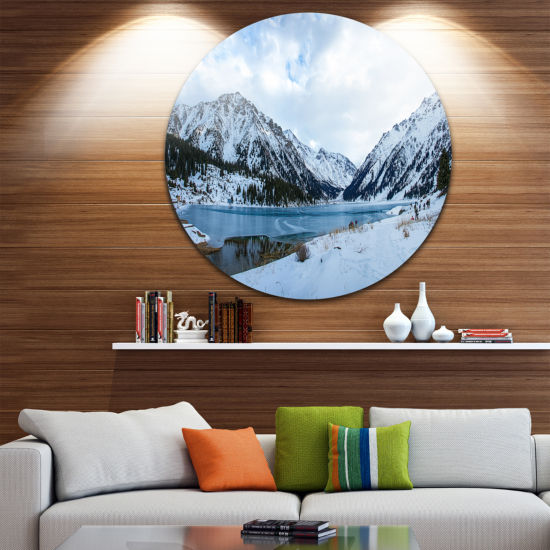 Design Art Lake Between Foggy Mountains LandscapePhotography Circle Metal Wall Art