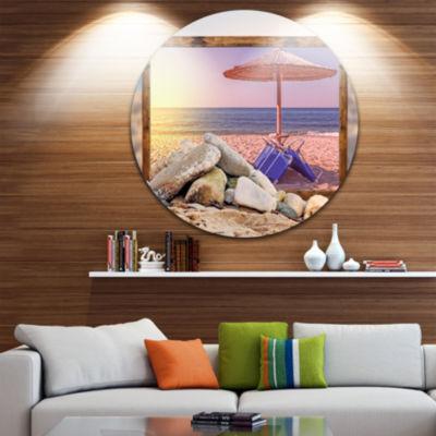 Design Art Framed Effect Beach Sunset Seashore Circle Metal Wall Art