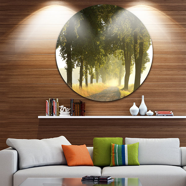 Design Art Country Road Below Green Trees Landscape Photo Circle Metal Wall Art