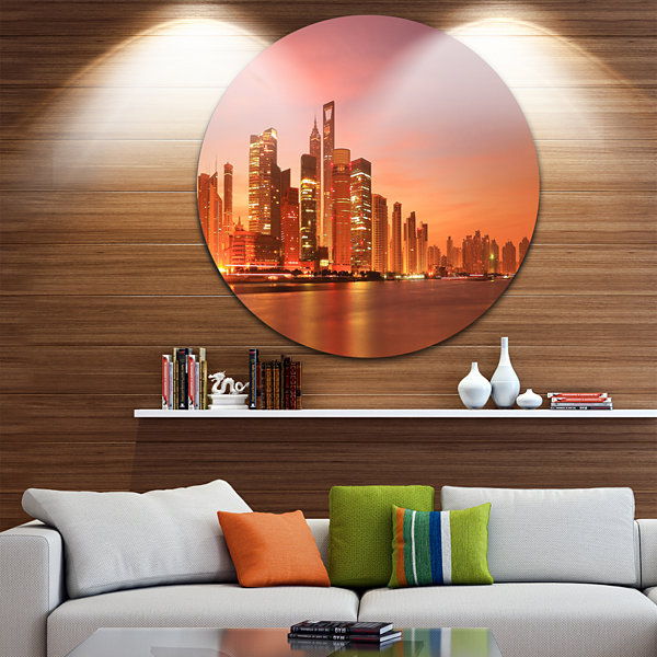 Design Art Shanghai Skyline at Dawn Cityscape Photo Circle Metal Wall Art