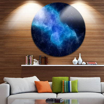 Design Art Blue Nebula in Cosmos Abstract Circle Metal Wall Art
