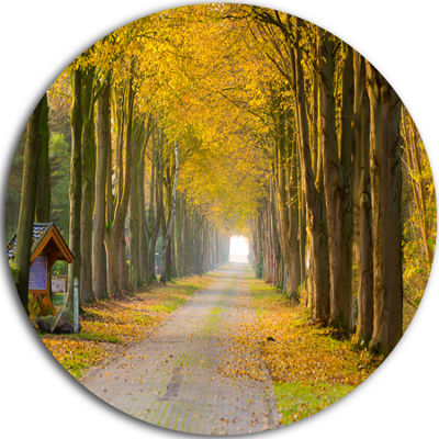 Design Art Country Road Below Yellow Trees Landscape Photography Circle Metal Wall Art