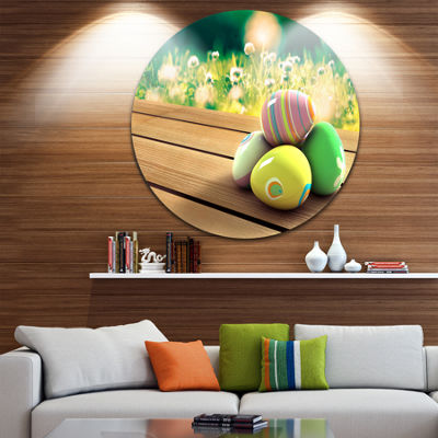 Design Art Yellow Green Easter Eggs Landscape Photo Circle Metal Wall Art