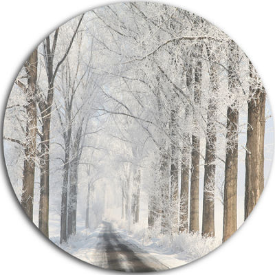 Design Art Road Through Frosted Forest Landscape Photo Circle Metal Wall Art