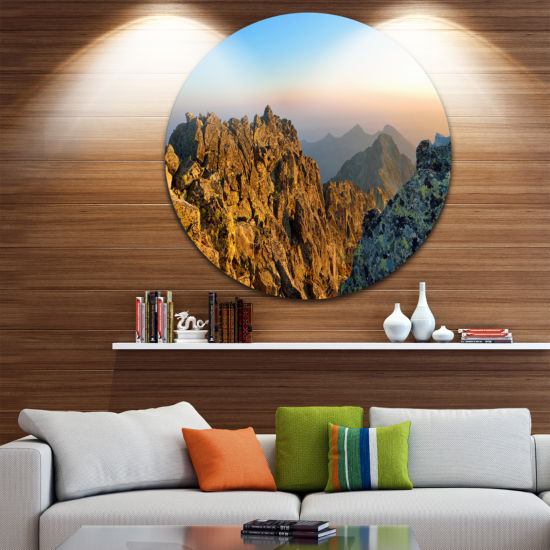 Design Art View from Baranie Rohy Peak Landscape Photo Circle Metal Wall Art