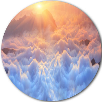 Design Art Frosty Carpathian Mountains Landscape Oversized Circle Wall Art