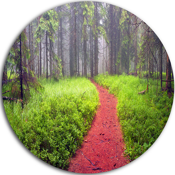 Design Art Desert Footpath to Misty Forest Ultra Vibrant Landscape Oversized Circle Wall Art