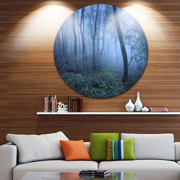 Design Art Trail Through Blue Fall Forest Landscape Oversized Circle Wall Art