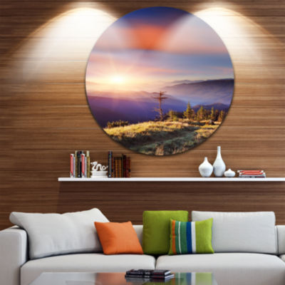 Design Art Fantastic Sunrise and Dead Tree Landscape Photo Circle Metal Wall Art