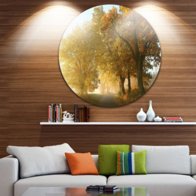 Design Art Rural Road Under Green Trees LandscapePhotography Circle Metal Wall Art