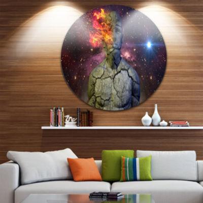Design Art Broken Human Body with Fire Abstract Circle Metal Wall Art