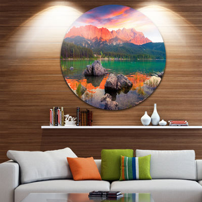 Design Art Colorful Eibsee Lake Sunset Landscape Photo Circle Metal Wall Art