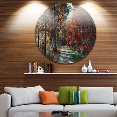 Design Art Road Through Red Fall Forest LandscapePhoto Circle Metal Wall Art