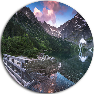 Design Art Wooden Foot Bridge Over Lake Ultra Vibrant Landscape Metal Circle Wall Art