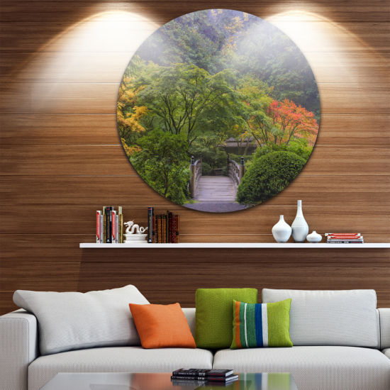 Design Art Foggy Dawn in Japanese Garden LandscapePhotography Circle Metal Wall Art