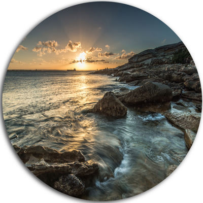 Design Art Sydney Beach with Bright Sunset Ultra Vibrant Seascape Oversized Circle Wall Art
