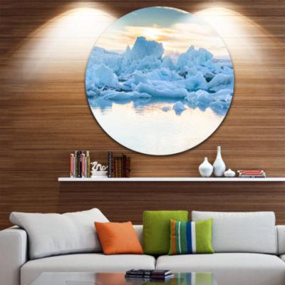 Design Art Icebergs in Glacier Lagoon Ultra Vibrant Seascape Metal Circle Wall Art