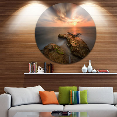 Design Art Sunset at Atlantic Coast Spain SeascapePhotography Circle Metal Wall Art