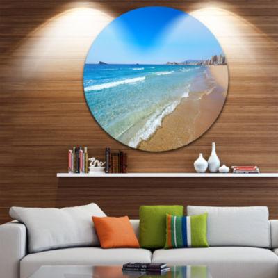Design Art Benidorm Poniente Beach Waves Ultra Vibrant Seascape Metal Circle Wall Art