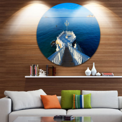 Design Art Benidorm Mirador Del Castillo Lookout Point Ultra Vibrant Seascape Metal Circle Wall Art