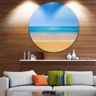Design Art Dark View of Tropical Beach Seashore Photo Circle Metal Wall Art