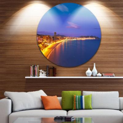 Design Art Benidorm Poniente Beach Sunset Ultra Vibrant Seascape Metal Circle Wall Art