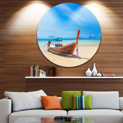 Design Art Tropical Beach with Boat Seashore PhotoCircle Metal Wall Art