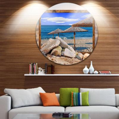 Design Art Framed Effect Beach Umbrellas SeashoreCircle Metal Wall Art