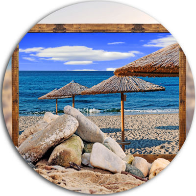 Design Art Framed Effect Beach Umbrellas SeashoreCircle Metal Wall Art