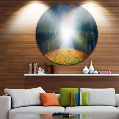 Design Art Rising Sun Over Colorful Forest Landscape Photo Circle Metal Wall Art