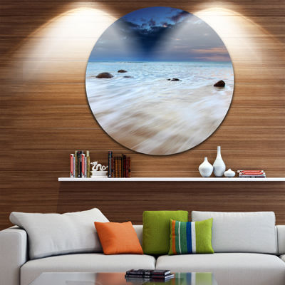 Design Art White Waves Over Moeraki Boulders Seashore Photo Circle Metal Wall Art