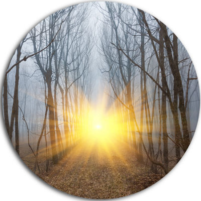 Design Art Yellow Sun Rays in Misty Forest Landscape Photography Circle Metal Wall Art
