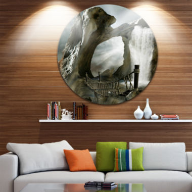 Design Art Large Trunk with Waterfall Landscape Circle Metal Wall Art