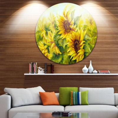 Design Art Bright Yellow Sunny Sunflowers Floral Metal Artwork