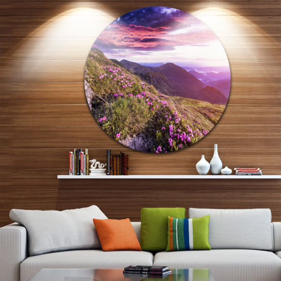 Design Art Rhododendron Flowers in Hills LandscapePhoto Circle Metal Wall Art